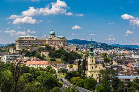 buda: View of Buda side of Budapest with the Buda Castle, St. Matthias and Fishermens Bastion Stock Photo