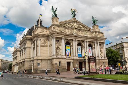 viennese: LVIV, UKRAINE - JUNE 29: Solomiya Krushelnytska State Academic Opera and Ballet Theatre (1897 - 1900) on June 29, 2013, Lviv, Ukraine. Theatre is built in Viennese neo-Renaissance style.