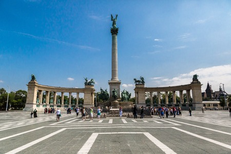 predecessor: BUDAPEST - CIRCA MAY 2013: Tourists visit Millennium Monument in Heroes Square circa May 2013 in Budapest, Hungary. This square has been UNESCO World Heritage site since 2002.