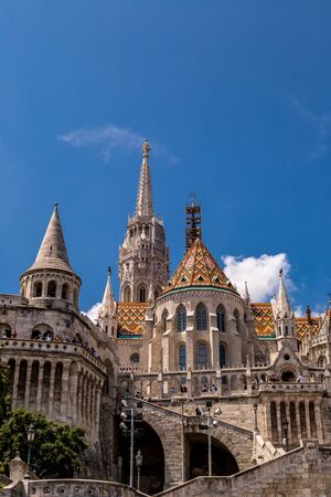 halaszbastya: BUDAPEST, HUNGARY - JULY 24: Image with Fishermen Bastion taken on July 24, 2013, in Budapest, Hungary. Conical towers from Castle Hill, are an allusion to the tribal tents of the early Magyars.