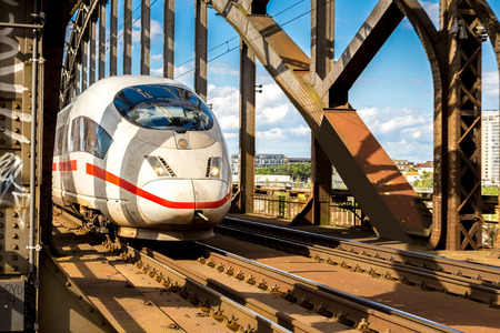intercity: Electric InterCity Express in Frankfurt, Germany in a summer day