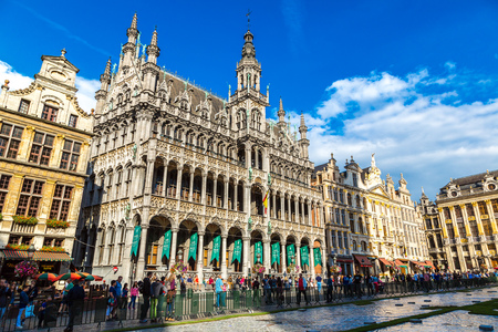 BRUSSELS, BELGIUM - JULY 6: The Grand Place in a beautiful summer day in Brussels, Belgium on July 6 2014