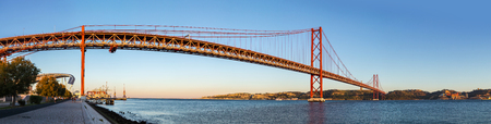 the tagus: Rail bridge  over the Tagus river  in Lisbon, Portugal. Editorial