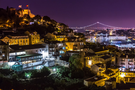 Aerial view of Lisbon at night, Portugal. Stock fotó