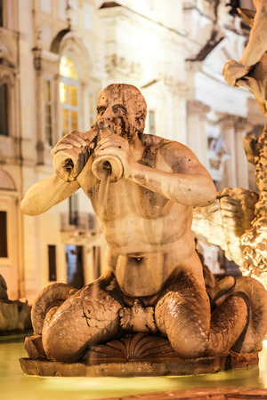 moor: Moor Fountain in Navona Square in a summer night in Rome, Italy