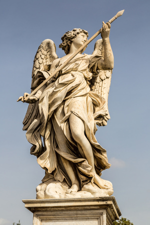 angelo: Statue of angel  at Sant Angelo bridge in Rome, Italy, Editorial