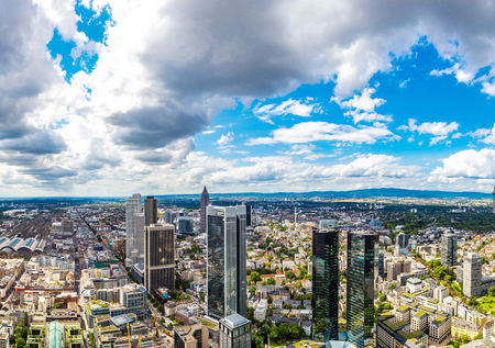 Summer panorama of the financial district in Frankfurt, Germany photo