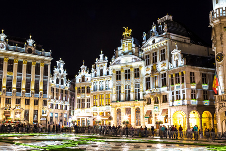 The Grand Place at night in Brussels, Belgium