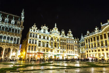The Grand Place at night in Brussels, Belgium photo
