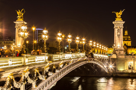 paris at night: Bridge of the Alexandre III in a beautiful summer day in Paris, France