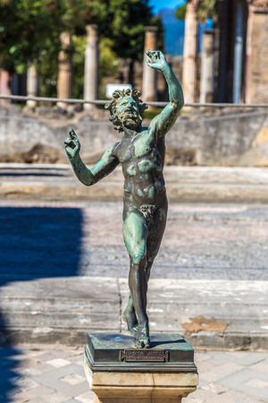 faun: Statue in Pompeii city  destroyed  in 79BC by the eruption of Mount Vesuvius Stock Photo