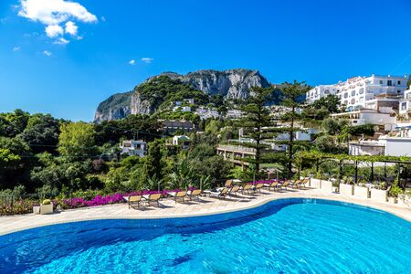 Pool on a Capri island in a beautiful summer day in Italy photo