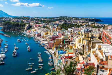 italy: Procida island in a beautiful summer day in Italy