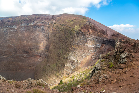 aerial bomb: Vesuvius volcano crater next to Naples in a summer day, Italy