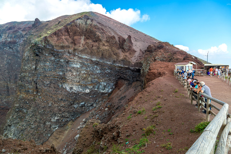 aerial bomb: MOUNT VESUVIUS, Italy, May 11, 2014. Visitors on the crater of Mount Vesuvius Editorial