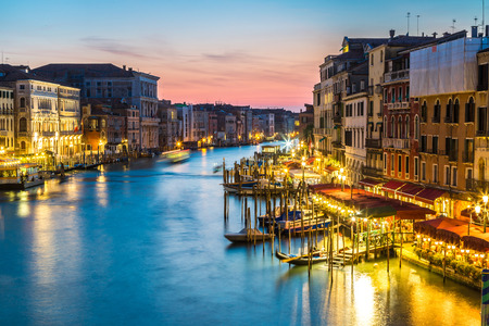 venice canal: Canal Grande in a summer night in Venice, Italy