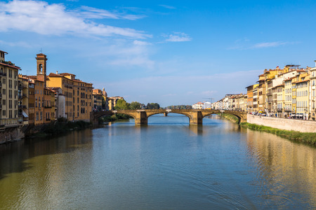 trinita: Ponte Santa Trinita in Florence in a summer day in Italy Stock Photo