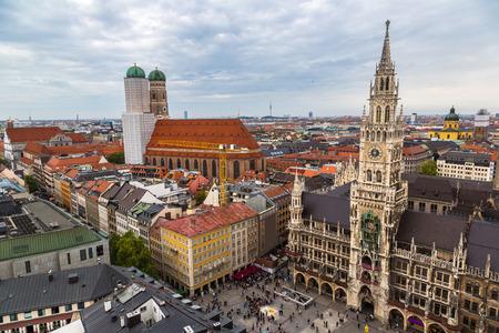 frauenkirche: Aerial view on Marienplatz town hall and Frauenkirche in Munich, Germany Stock Photo