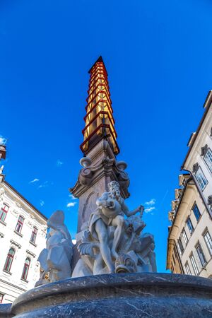 st nicholas cathedral: Robba Fountain and St. Nicholas Cathedral in a summer day in Ljubljana, Slovenia Stock Photo