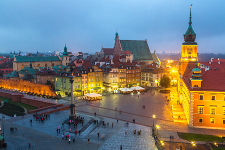 Panoramic view of Warsaw at night in Poland Stock fotó