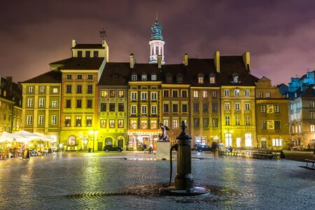 Old town sqare in Warsaw at night in Poland