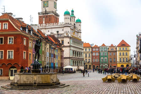 poznan: Old market square in Poznan in a summer day, Poland