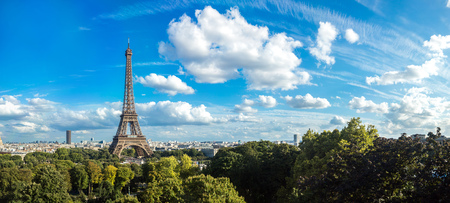 Panorama of the Eiffel Tower in Paris, France in a beautiful summer day