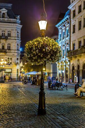 lvov: Night summer cityscape in the center of Lvov, Ukraine