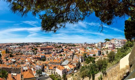 Panoramic aerial view of Lisbon, Portugal.