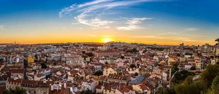 portugal: Aerial view of Lisbon at night, Portugal.