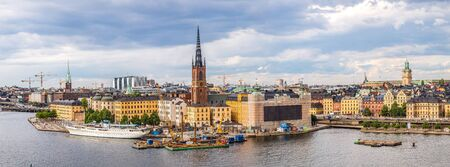 europe travel: Scenic summer aerial panorama of the Old Town (Gamla Stan) in Stockholm, Sweden