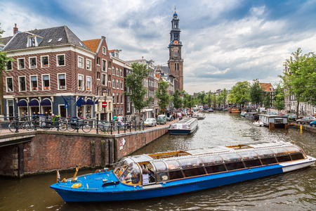 westerkerk: Westerkerk in Amsterdam in a summer day Stock Photo