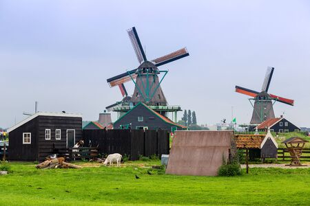 netherland: Wind mills in Zaanse Schans, Netherland. Holland Stock Photo