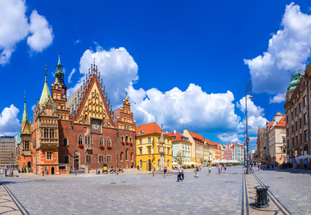 rynek: Old City Hall in Wroclaw, Poland in a summer day Stock Photo