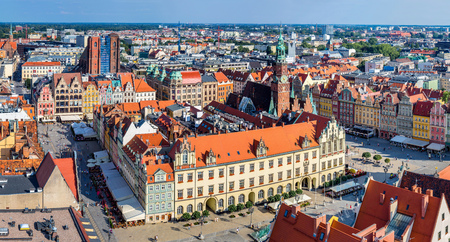 Aerial view of a Market Square in Wroclaw, Poland in a summer day photo