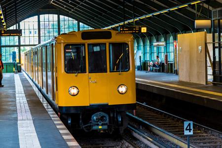 u bahn: Metro station in Berlin, Germany in a summer day Editorial