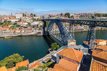 douro: Dom Luis I bridge in Porto in Portugal in a summer day