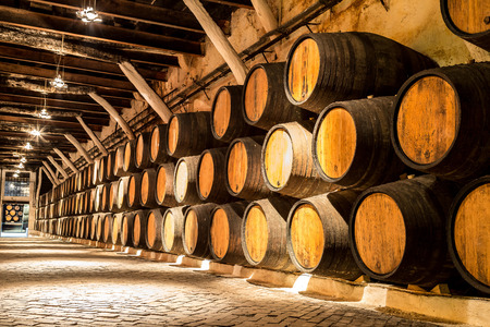 Barrels in the wine cellar in Porto in Portugal