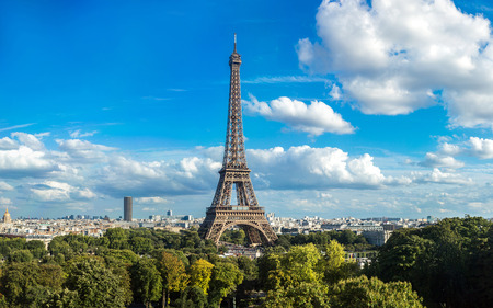 eiffel: Panorama of the Eiffel Tower in Paris, France in a beautiful summer day