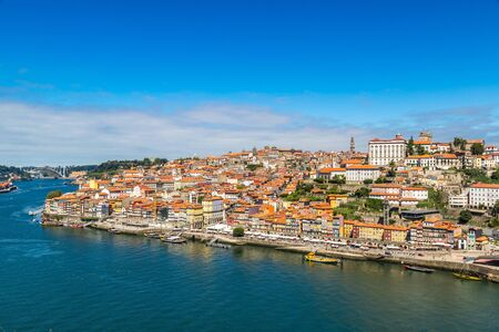 ribeira: Aerial view of Porto in Portugal in a beautiful summer day