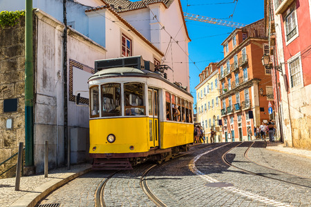 Vintage tram in the city center of Lisbon, Portugal 스톡 콘텐츠