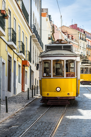 gloria: The Gloria Funicular in the city center of Lisbon, Portugal Stock Photo