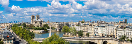 Aerial panorama of Seine and Notre Dame de Paris in summer day