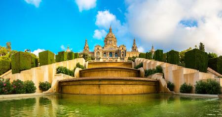 barcelone: Placa de Ispania (Le Mus�e National) � Barcelone, en Espagne dans un jour d'�t�