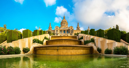 barcelona: Placa de Ispania (The National Museum) in Barcelona, Spain in a summer day