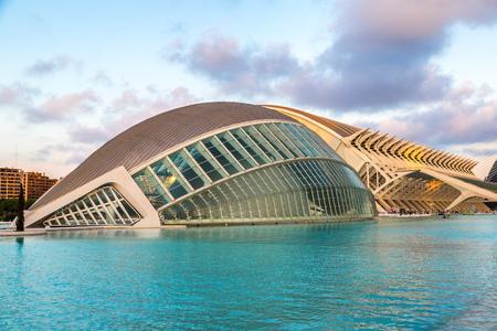 sciences: VALENCIA, SPAIN - JULY 22: City of arts and sciences designed by Santiago Calatrava architect in Valencia on July 22, 2014 in Valencia, Spain Stock Photo