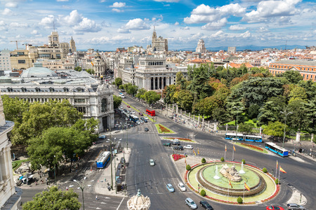 cibeles: Aerial view of Cibeles fountain at Plaza de Cibeles in Madrid in a beautiful summer day, Spain Stock Photo