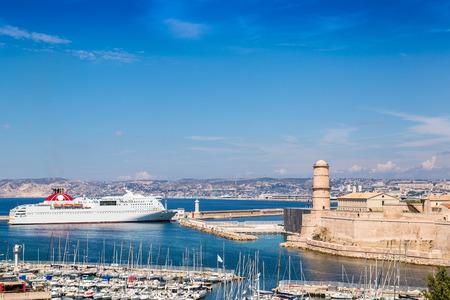 major ocean: Saint Jean Castle and Cathedral de la Major and the Vieux port in Marseille, France