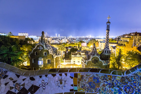 barcelona: Park Guell in Barcelona, Spain in a summer night