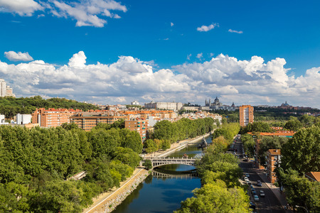 madrid  spain: Skyline view of Almudena Cathedral and Royal Palace in Madrid, Spain